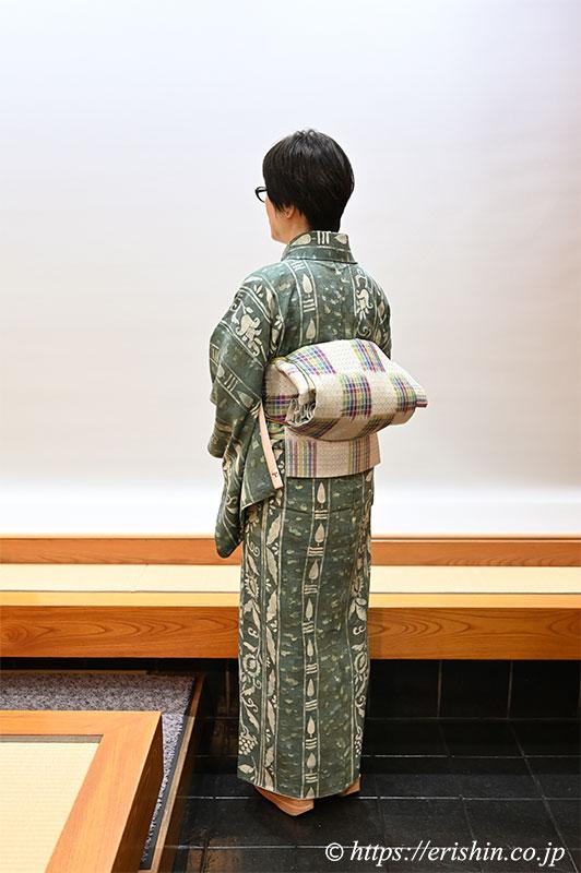 ローケツ小紋に小島秀子・作 九寸織名古屋帯