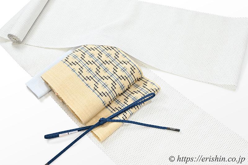 小千谷縮(小絣/白地)に越後上布 八寸織名古屋帯