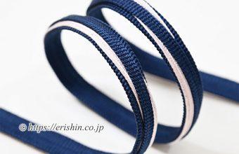 帯締め 遠州組(三枚縫い合わせ木の葉/紺に桜鼠・細め)