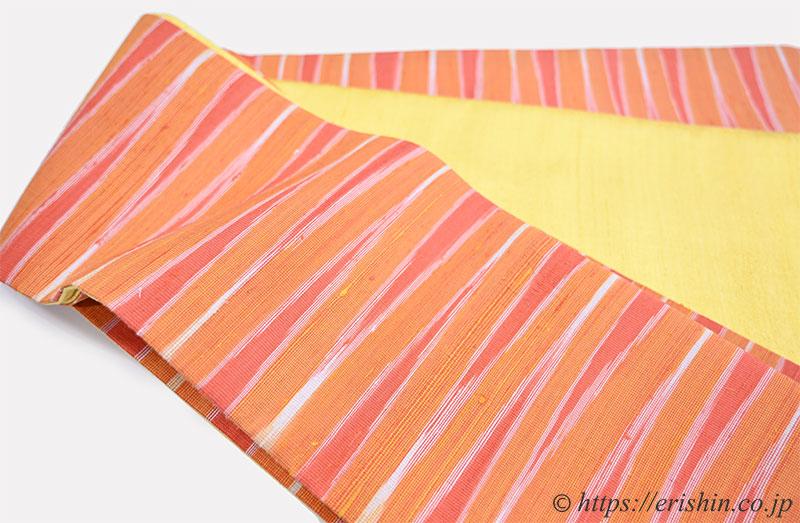 正絹ラオス半幅帯(黄繭生繰り糸 手織り No.2)