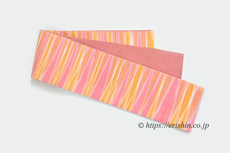 正絹ラオス半幅帯(黄繭生繰り糸 手織り No.3)