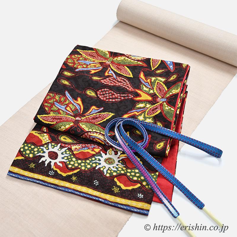 アリリの手描きバティック京袋帯