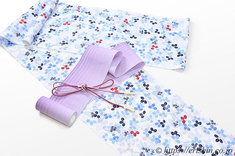紫織庵大正友禅浴衣(綿絽・萩尽し/白地・紺ブルー)に紗の半幅帯