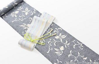 竺仙紬浴衣(金魚と唐草)に紗の半幅帯