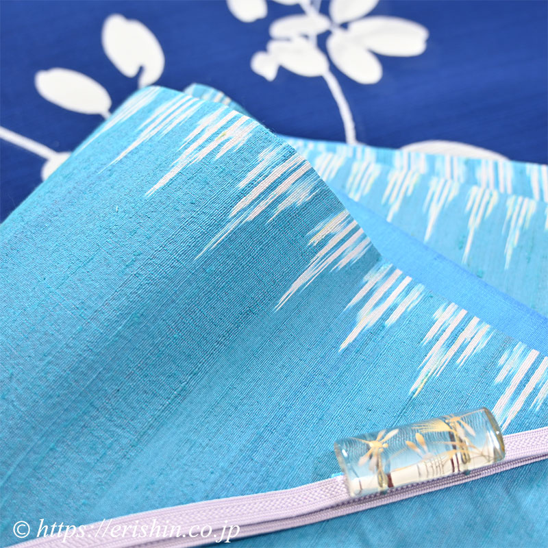竺仙/ちくせん 綿絽地染浴衣(萩/深縹地)に正絹ラオス半幅帯(手織り/ターコイズブルー)