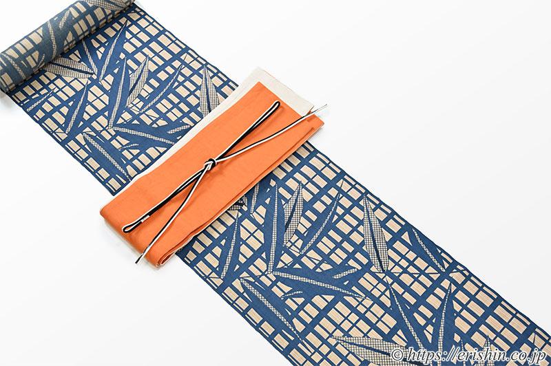 竺仙奥州小紋に麻市松半巾帯