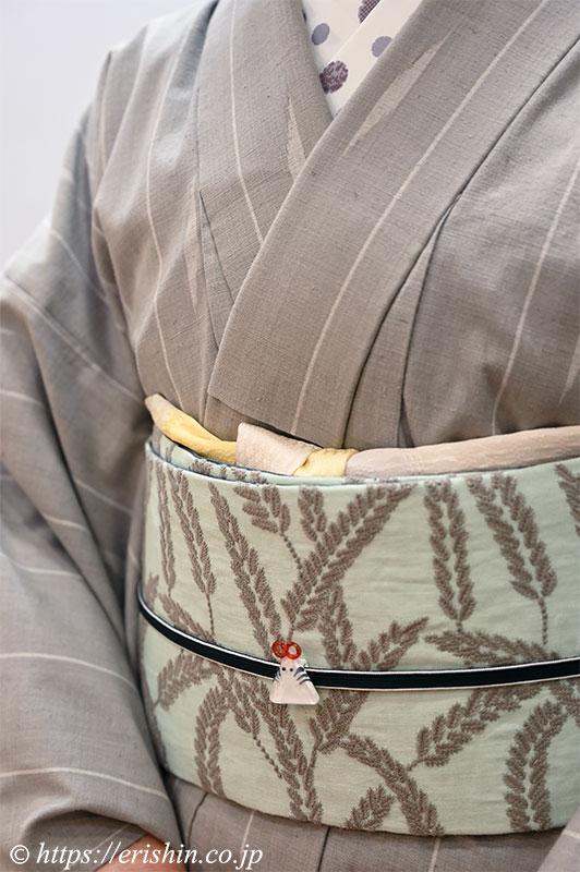 兵庫県 E様 芝崎圭一作の木綿着物に、ミナペルホネンのテキスタイル地の帯