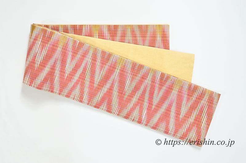 正絹ラオス半幅帯(黄繭生繰り糸 手織り No.4)