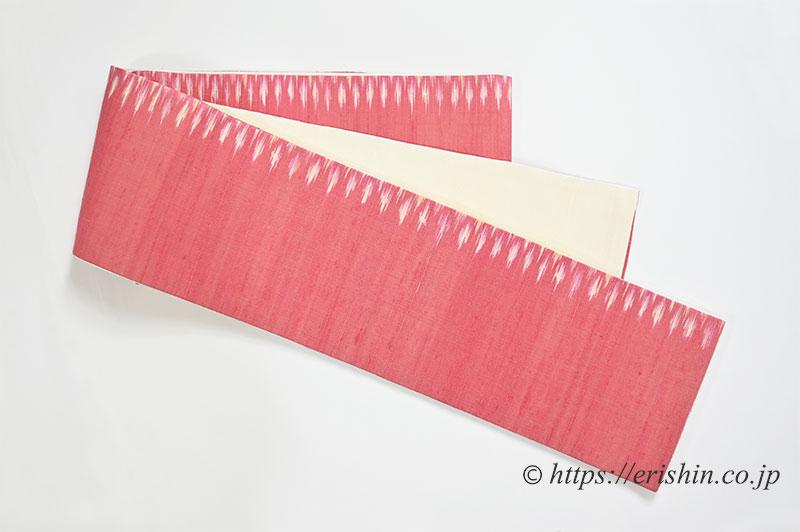 正絹ラオス半幅帯(黄繭生繰り糸 手織り No.5)