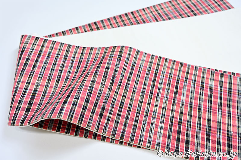 正絹ラオス半幅帯(黄繭生繰り糸 手織り No.6)