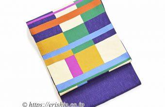 風通織袋帯(綴れ段市松/木屋太)