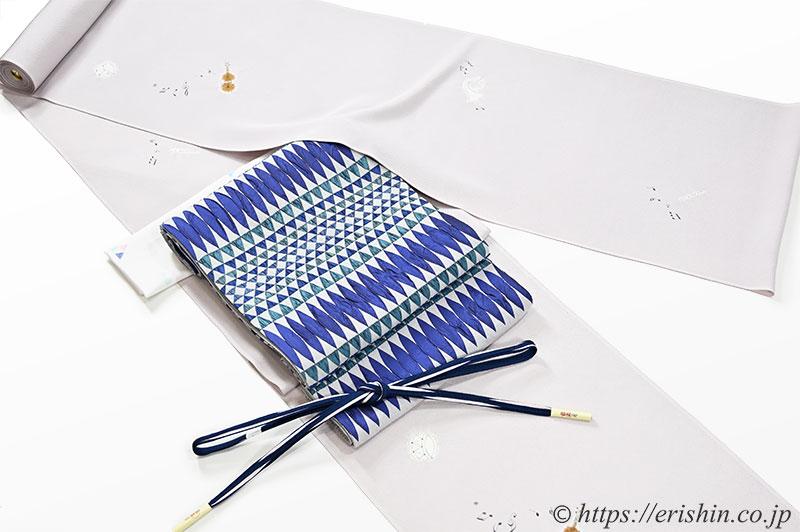 小紋(コンサート/絞り) 森健持・作にフクレ織袋帯(つづれウロコ段/木屋太)