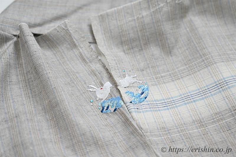 手刺繍洒落紋のお誂え(波うさぎ)結城紬へ