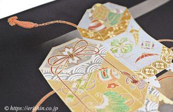 着物・えり新オリジナル染名古屋帯(金彩段霞に貝桶)