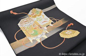 オリジナル染名古屋帯(金彩段霞に貝桶)