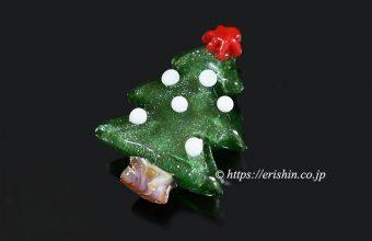 帯留め(クリスマスツリー/モレッティガラス)