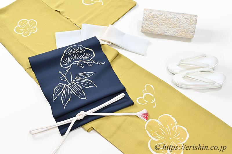 初春を寿ぐ 梅の付下げに、松竹の染帯を