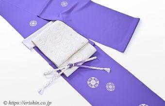 えり新オリジナル付下(銀彩蝶華紋/紫苑色)と袋帯(菊華菱文)のコーディネート例