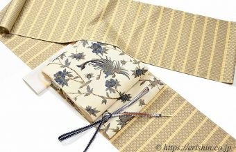 着物、帯、帯締め・帯揚げのコーディネート「与那国花織りにガルーダ更紗(多ち花)の帯」