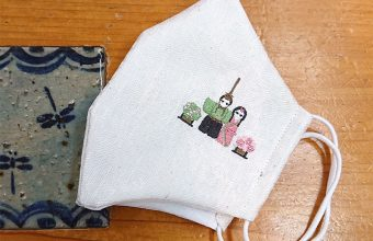 刺繍お雛祭り柄 和小物さくら絹マスク Silk Mask (ウォッシャブル麻わた入り) 小葵地紋