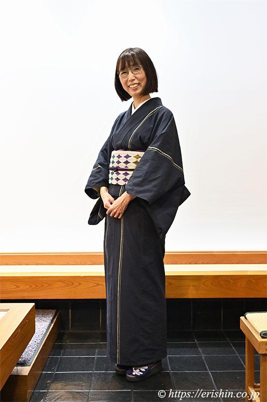 片貝木綿と木屋太袋帯の着姿(兵庫県 N様)