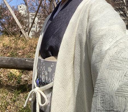 えり新オリジナル染名古屋帯(梅花晧月図)の着姿 A様