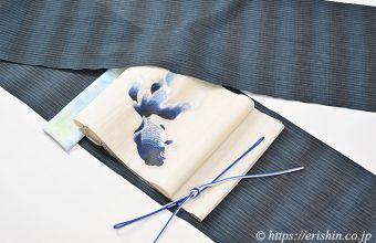 小千谷縮のコーディネート 小千谷縮と誉田屋源兵衛の金魚の刺繍の帯