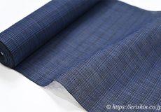 小千谷縮(よろけ格子/杜若色×黒)広巾