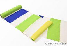 誉田屋源兵衛 浴衣(綿・熨斗目/青×黄×緑)広巾