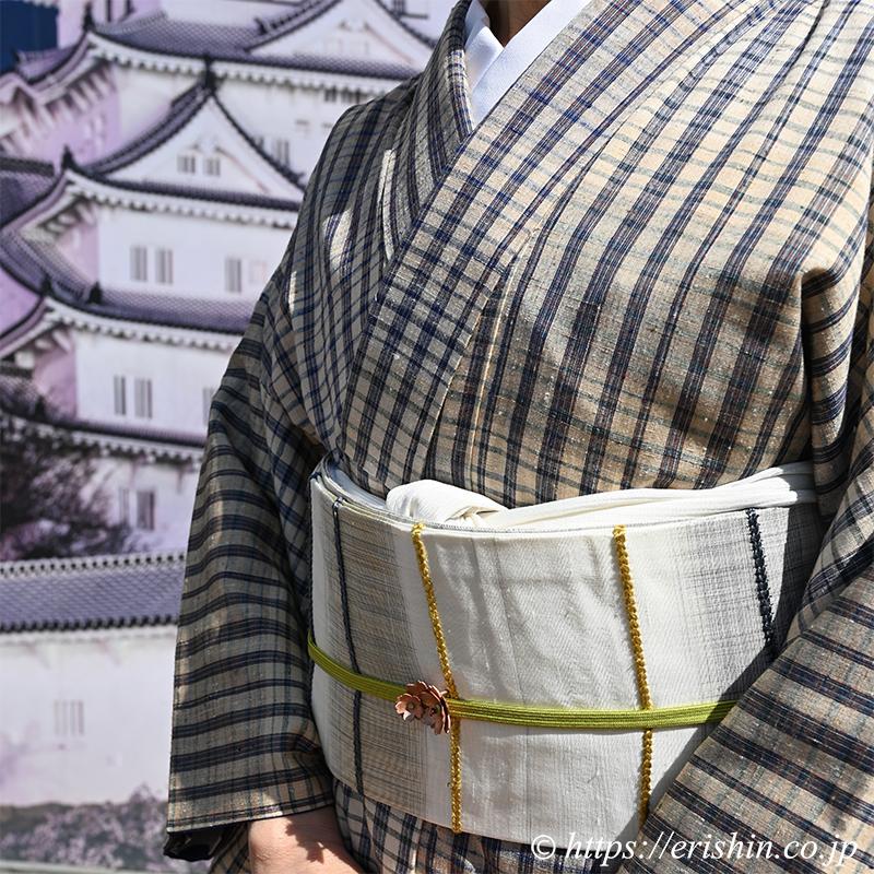 士乎路紬に宮崎涼子さんの九寸織名古屋帯