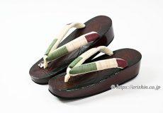 舟形下駄(鎌倉彫麻の葉&三色段花緒)