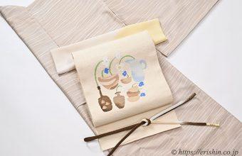 着物コーディネート「しけ引き&ローケツ染めの小紋に洛風林の八寸帯」
