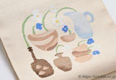 洛風林八寸織名古屋帯(北欧花器)