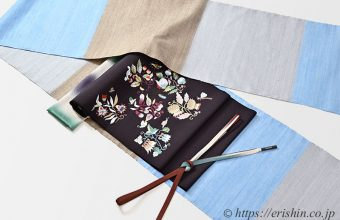 旬のお勧めコーディネート「伊那紬(三色横段)に刺繍名古屋帯(イギリス草花文様)」